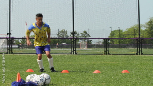Soccer player working out