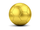 Golden soccerball on white closeup