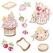 Geburtstag, Kaffee, Kuchen, Früchte, vector set