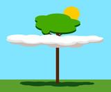tree poking through clouds poster