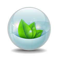 Waterball with stylized green leaves