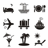Traveling and accommodation icons poster