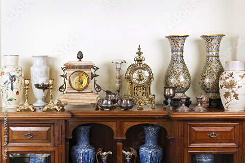 Antique vases and clocks