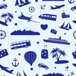 Seamless monochrome pattern on travel and tourism