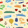 Seamless colored pattern on travel and tourism
