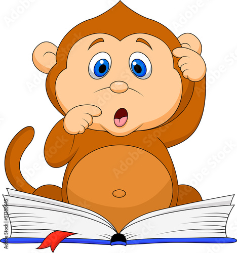 Cute monkey cartoon reading book