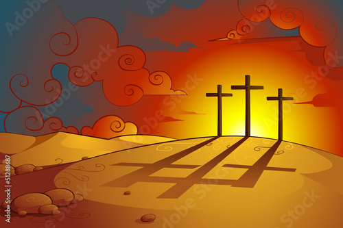 vector illustration of crosses of Jesus Christs crucifixion
