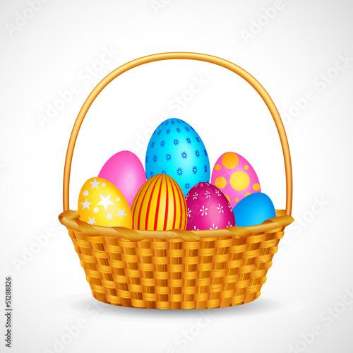 vector illustration of basket full of colorful Easter egg