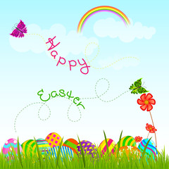 vector illustration of colorful Easter egg in garden