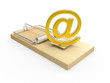 Gold email symbol on mousetrap