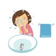 顔を洗う女の子