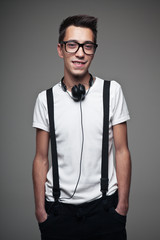 Portrait of a young teenager with headphones