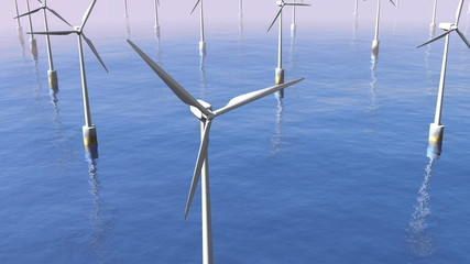 flying over wind turbines in the ocean