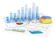 canvas print picture - Graphs of financial analysis - Isolated