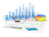 Fototapety Graphs of financial analysis - Isolated