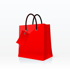Red shopping bag vector illustration