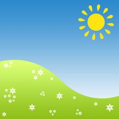 Himmel, Sonne und grüne Wiese
