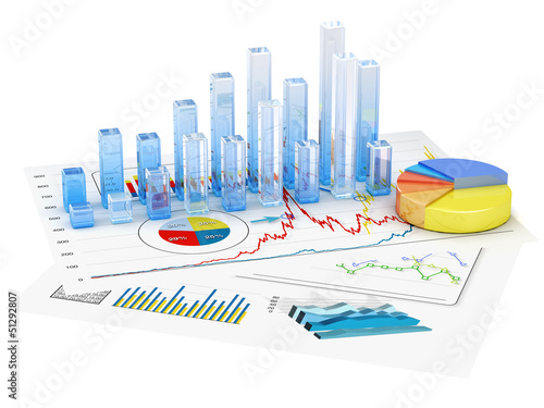 canvas print picture Graphs of financial analysis - Isolated