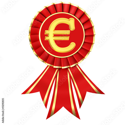 Red ribbon award with euro sign