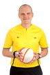 Portrait of a referee holdin a ball