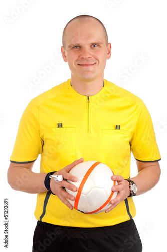 Portrait of a referee holdin a ball