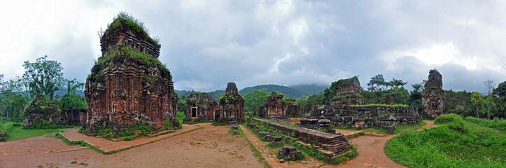 Panorama of My Son Hindu temple ruins, Vietnam
