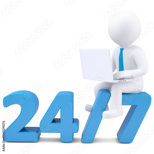 3d man with laptop sitting on the numbers 24/7