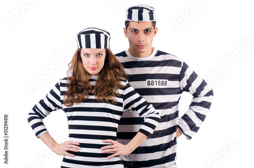Pair of prisoners isolated on white
