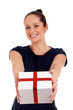Happy woman with gift box