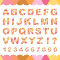 迷彩柄のアルファベットと数字(ピンク系)