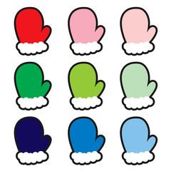 柄なしカラフルな手袋たち