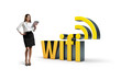 Businesswoman with wifi word.