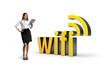Businesswoman with wifi word.