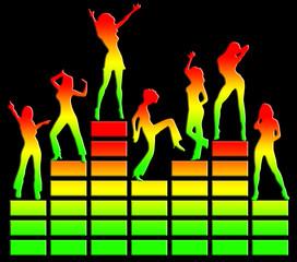 Tanzende Mädchen, Equalizer, Musik, Disko, Club