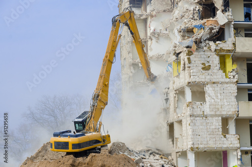 canvas print picture Block of flats demolition