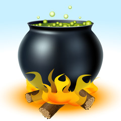 Witch cauldron on fire
