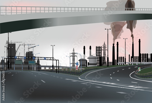 dark street in industrial landscape