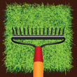Grass sod and Garden rakes