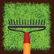 Grass sod and Garden rakes