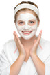Happy young girl face mask smiling cosmetics