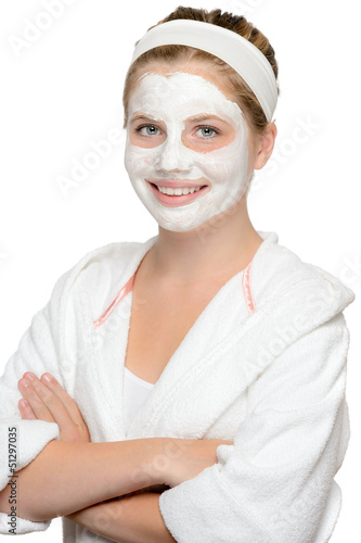 Smiling young girl facial mask waiting beauty