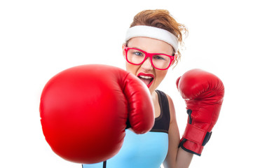Angry boxer - fitness woman