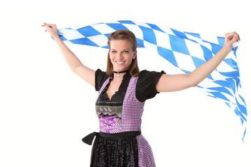Frau mit Bayernfahne