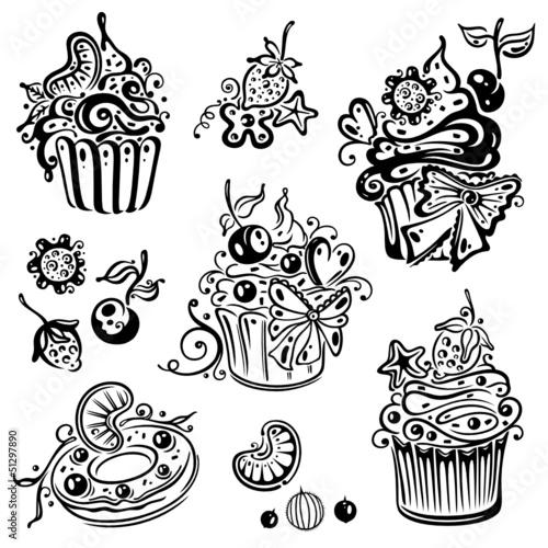 Geburtstag, Kaffee, Kuchen, Muffins, vector set