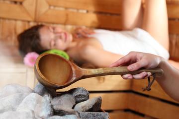 Aufguss in der Sauna
