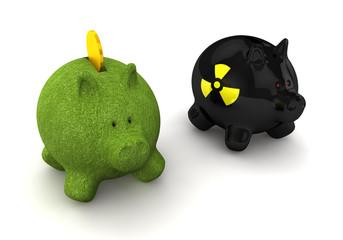 Konzept Atomenergie und Ökostrom