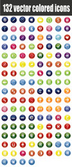 132 colored vector icons