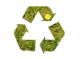 Carta tagliata con il logo del riciclo