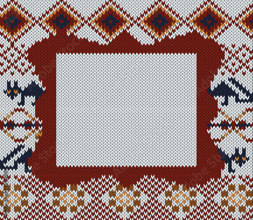 Knitted folk background with frame for your text