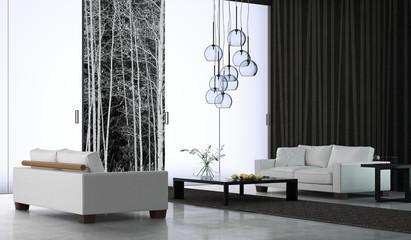 Ambiente con divani ed alberi